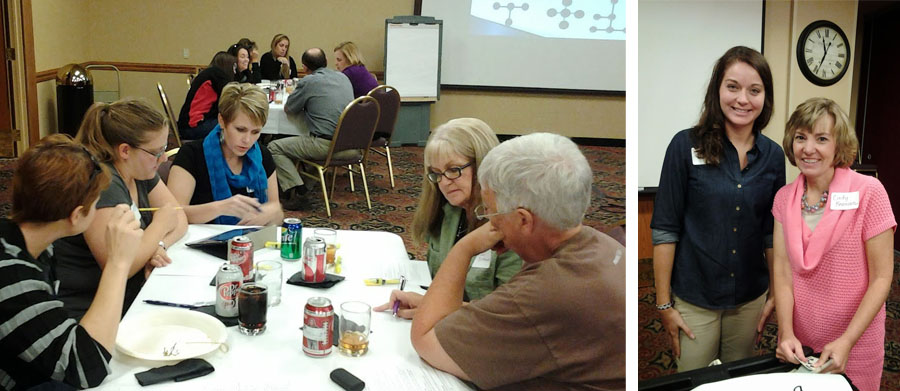 Teachers (left photo) work on an activity during the Greater Nebraska Math Teachers Circle for secondary educators. Sarah Timmer and Cindy Beaman of GIPS presented another GNMTC to elementary teachers before NATM.