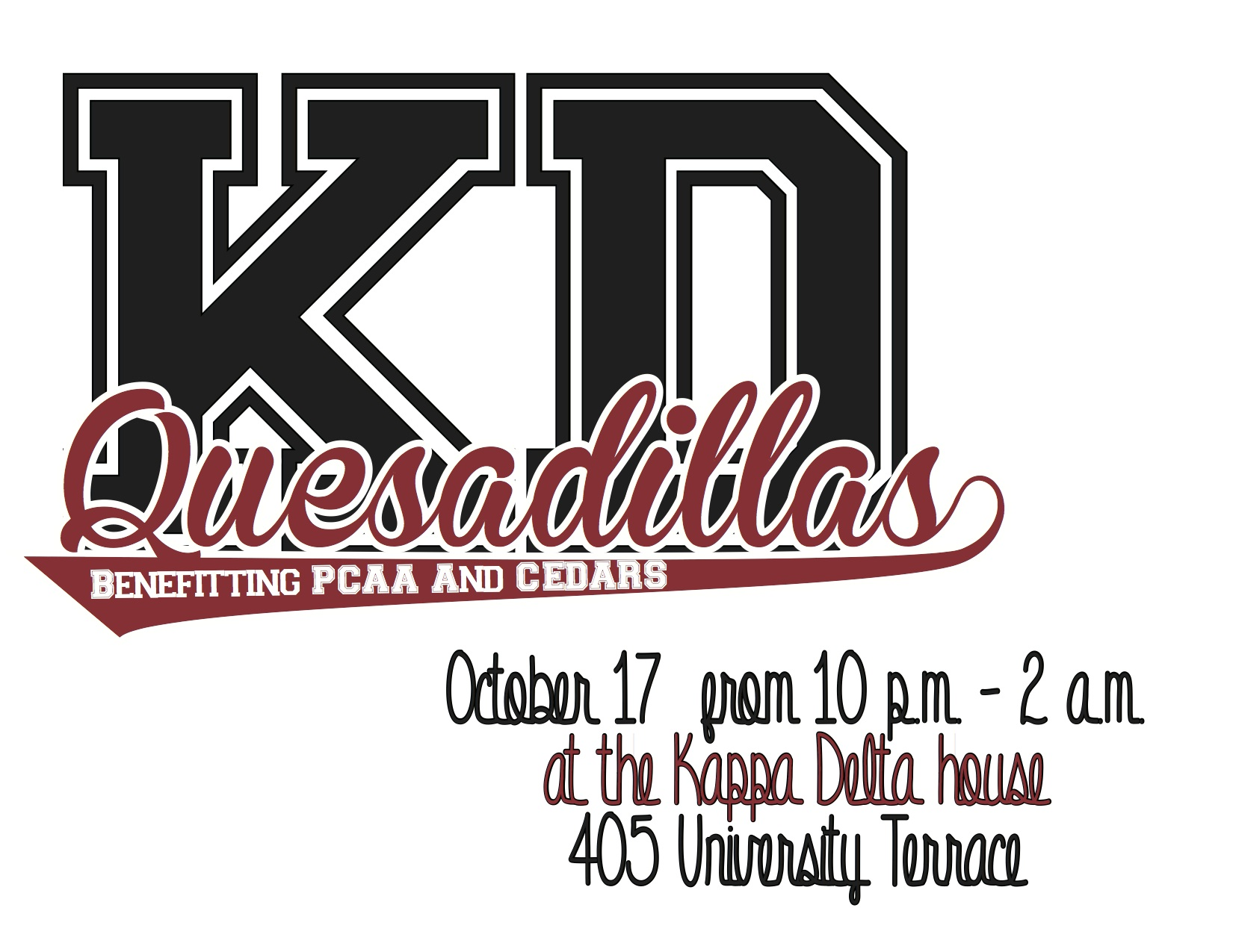 Kappa Delta Quesadillas, benefitting Prevent Child Abuse America and CEDARS, takes place October 17th