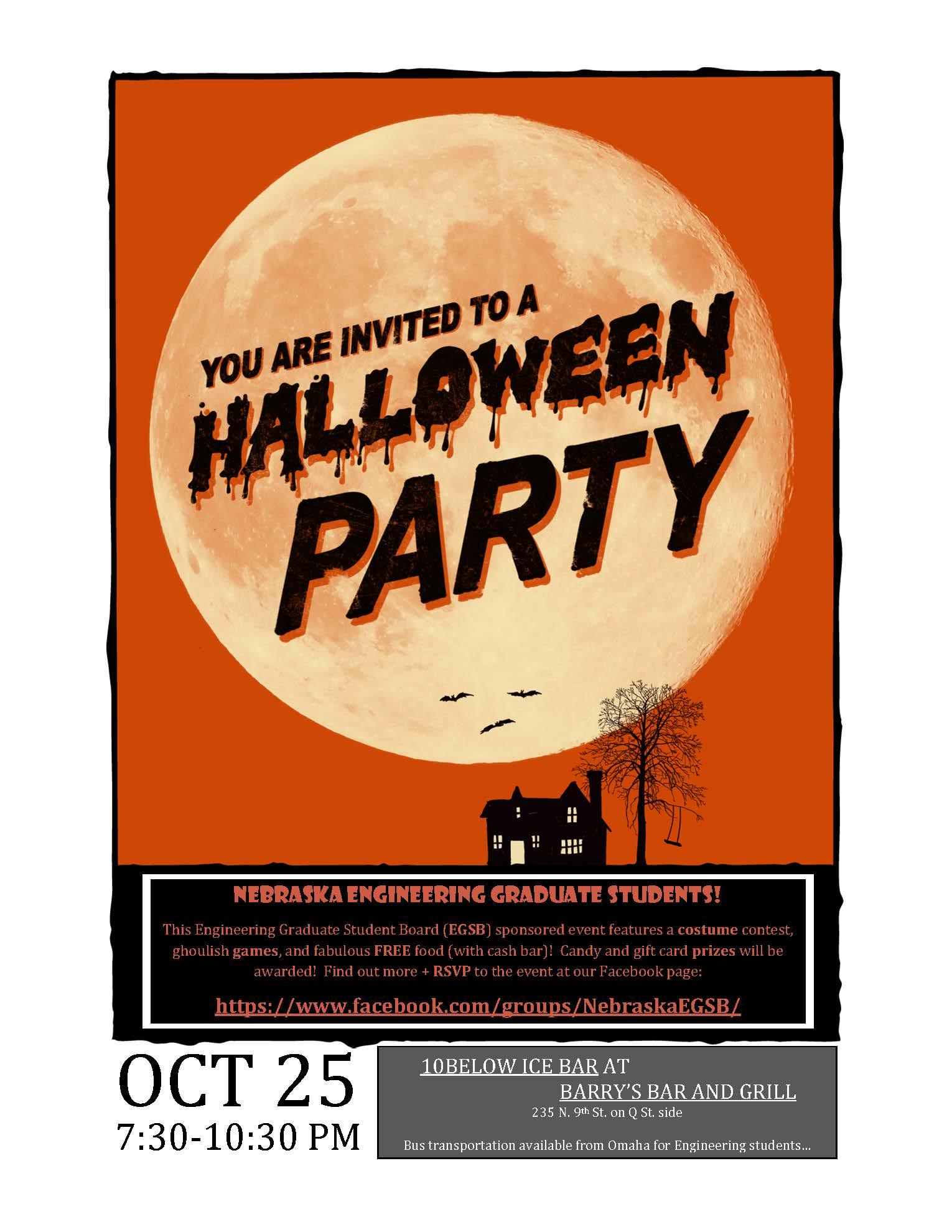 nebraska engineering graduate student halloween party is friday night oct 25 at barrys in