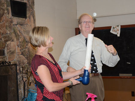 """Ken Dewey demonstrates """"weather ping-pong at the Nebraska Academy of Science Teachers annual convention."""