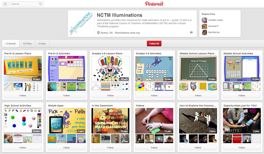 NCTM Illuminations Pinterest