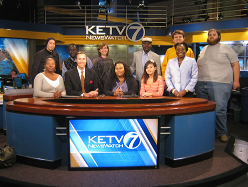 Victoria Alapo and her weather and climate students at the KETV news studio in Omaha.