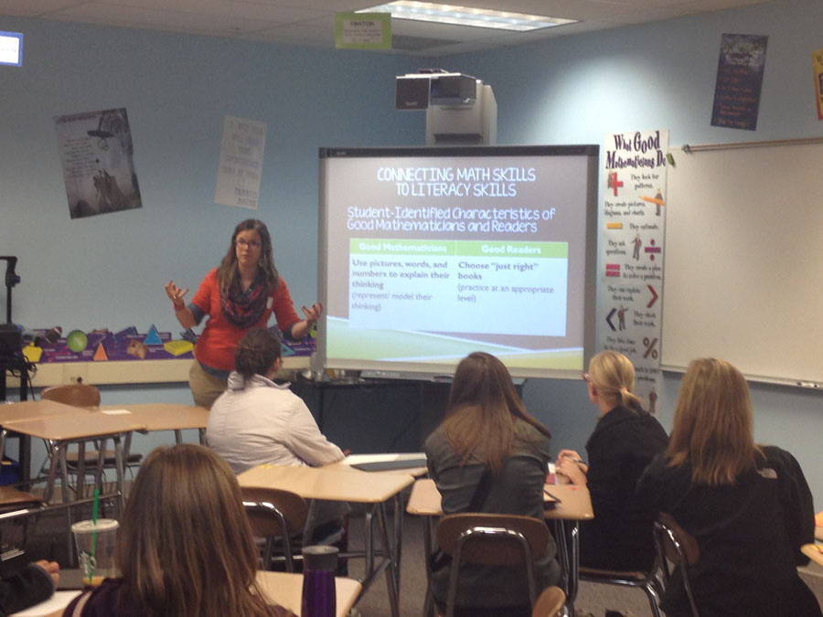 Nancy Mosier speaks to pre-service teachers on Nov. 9.
