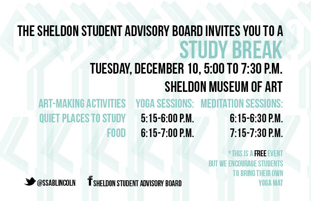 Sheldon Museum of Art to host study break on Dec. 10.