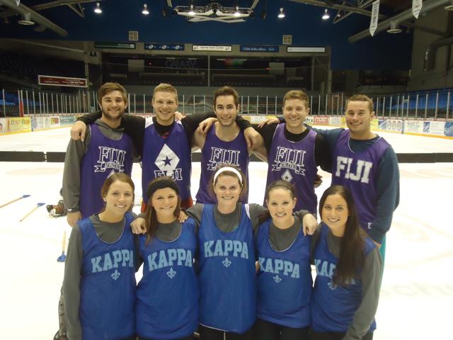 Kappa Kappa Gamma & Phi Gamma Delta won this year's Broomball Co-Rec (A) division.