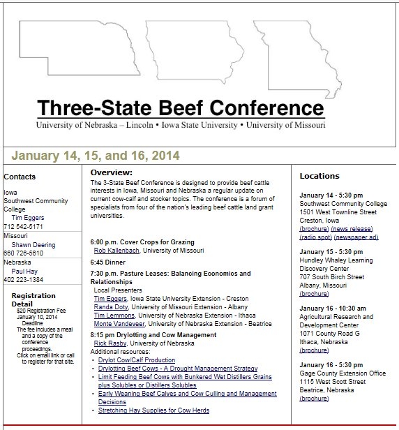 Area beef producers should make plans to attend the first annual Three-State Beef Conference.