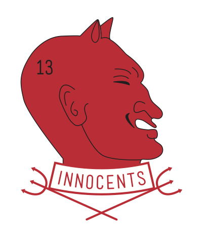 The badge of the Innocents symbolizes the negative influences to be overcome by the Society's actions.
