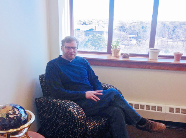 Paul Hanson in his new Hardin Hall office, which overlooks UNL's East Campus.