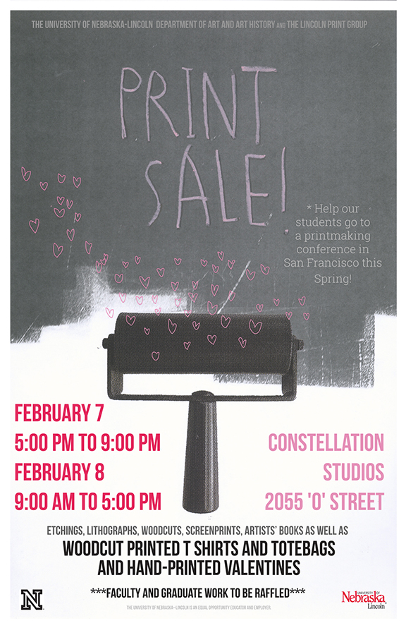 The Department of Art and Art History and Lincoln Print Group will hold a Print Sale Feb. 7-8 at Constellation Studios in Lincoln.