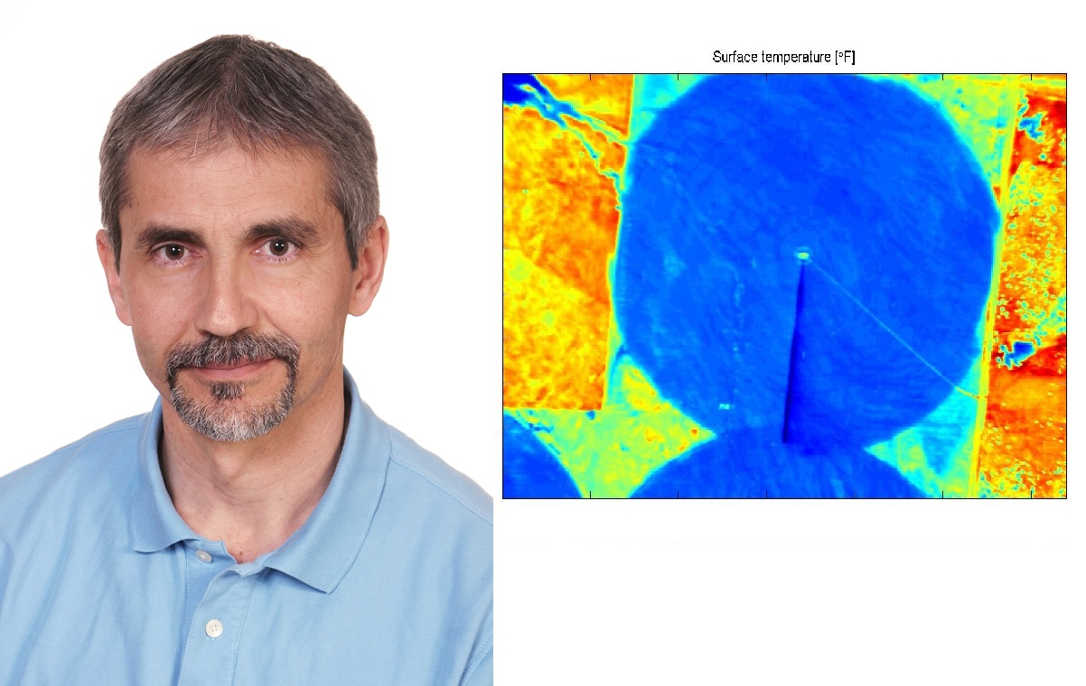 Joe Szilagyi and one of the images obtained with Cornerstone Mapping's highly sensitive thermal-infrared camera.