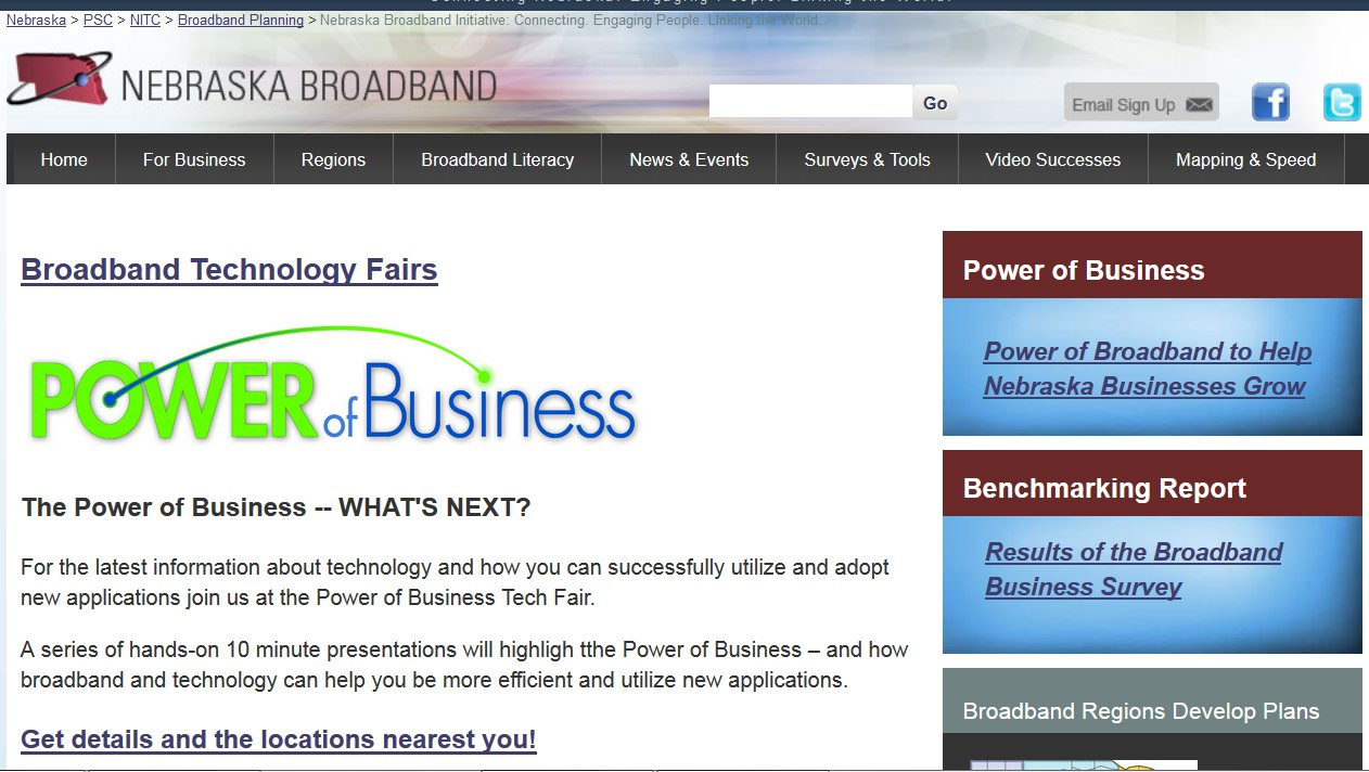 Broadband high-speed Internet access is transforming Nebraska's economy and society.
