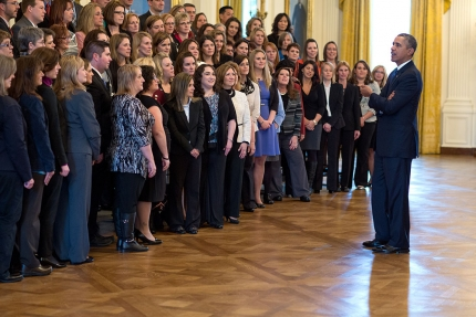 President Barack Obama meets with Presidential award for excellence in math and science teaching winners in the East Room of the White House, March 3, 2014. (Official White House Photo by Pete Souza)
