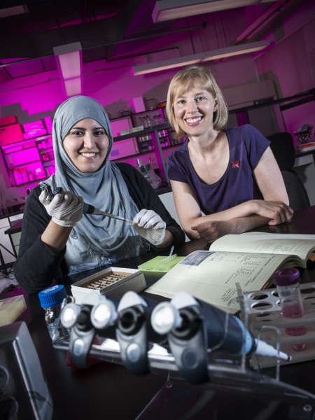 UNL student Latifa Obaidi (left) and assistant professor Stacey Smith (photo: University Communications)