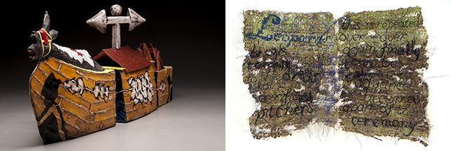 "(left) Aaron Sober, ""Ship of Fools,"" earthenware, 36"" x 6"" x 14"", 2013; (right) Camille Hawbaker, ""Leopards,"" thread, ink, paper and ash, 9"" x 12"", 2013."