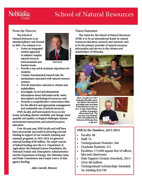 The spring 2014 edition of the SNR fact sheet is now available.
