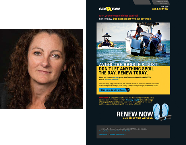 Colleen Syron and one of her award-winning ads for Sea Tow Services International.