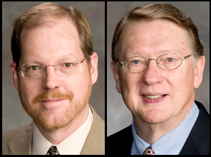 Patrick Dussault, professor of chemistry, and Donald Weeks, professor of biochemistry.
