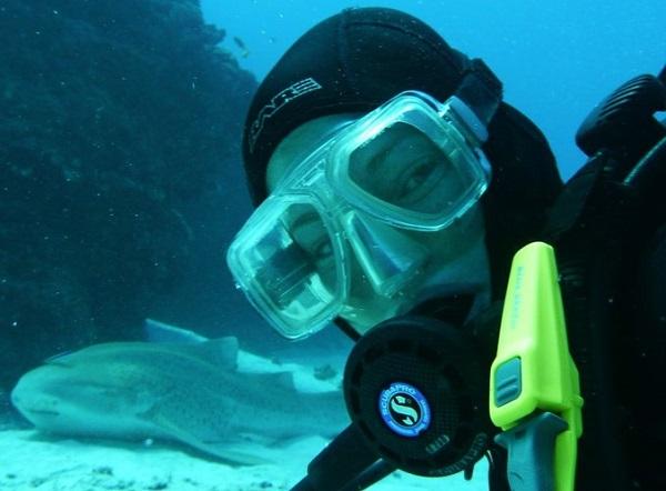 Kay Kunze ('98) scuba diving near a Zebra shark.