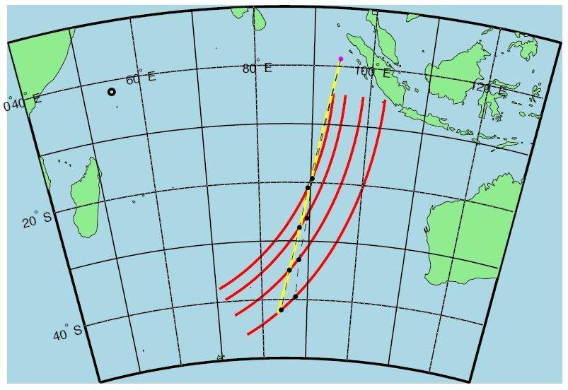 An analysis of satellite pings from Malaysia Airlines Flight 370 allowed Inmarsat to sketch out broad arcs that the jet crossed hour by hour. Further analysis produced projected flight paths for the missing jet. The black dashed lines indicate the paths p