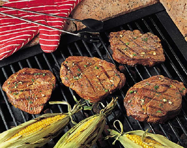 Lower priced beef items for grilling include the flat iron, chuck eye steak, petite tender, and center cut sirloin.  Photo courtesy of the the Nebraska Beef Council.