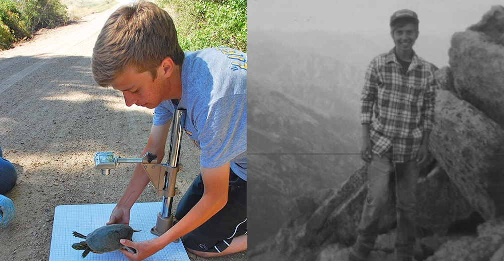 Left: Ian Hoppe with a turtle at Cedar Point Biological Station in Ogallala, Nebraska. Right: Hoppe near Long's Peak in Estes Park, Colorado. (Courtesy photos)