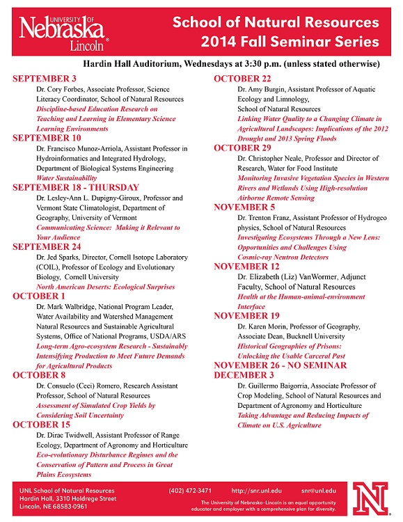 An updated version of the 2014 SNR fall seminar series schedule has been announced. The series features 13 presentations that will kick off on Sept. 3 and conclude on Dec. 3.