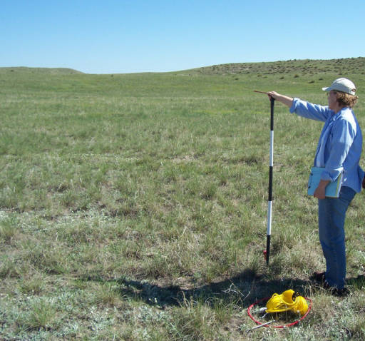 Setting up a distant point: former Extension Educator Cindy Tusler and rancher Lynn Myers find a distant point on the horizon for a photo point while setting up a monitoring site