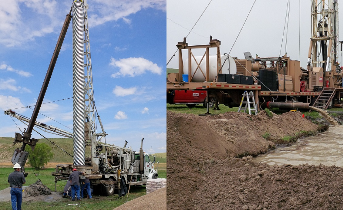 Left: The bucket rig crew lowering the shallow surface casing in the large diameter hole at the drilling site. Right: Reverse rotary drilling rig and the mud pit as seen from the geologist's table. (Photos courtesy Doug Hallum)