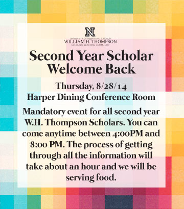 RSVP for Mandatory Second Year Welcome Back at http://goo.gl/Z9THPD
