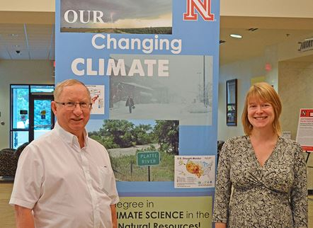 Ken Hubbard, professor of applied climate science, and Barbara Boustead, who earned her Ph.D. in applied climate science in August.