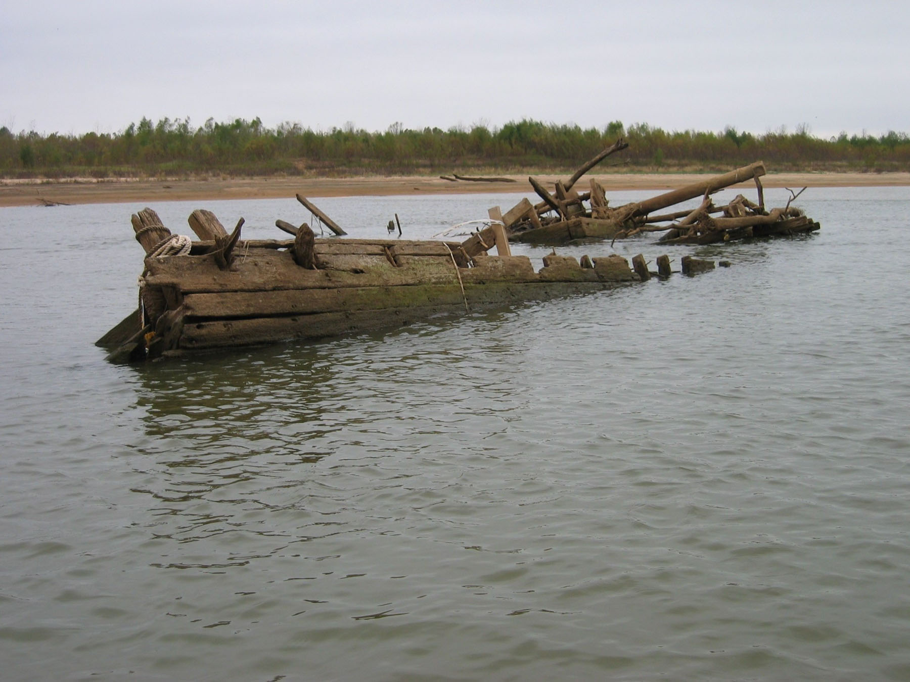 Wreckage of the steamboat Heroine in the Red River near Swink, Okla.