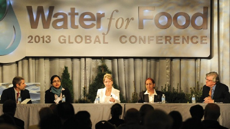From left, Paul Hicks, Aditi Mukherji, Karen Villholth, Ravinder Kaur and Jeff Raikes at the 2013 Water for Food Global Conference