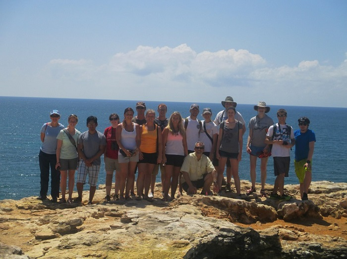 Students on the 2014 Puerto Rico study tour with trip leader Dennis Ferraro.