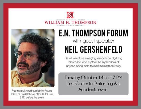 E.N. Thompson Forum with guest speaker Neil Gershenfeld ...