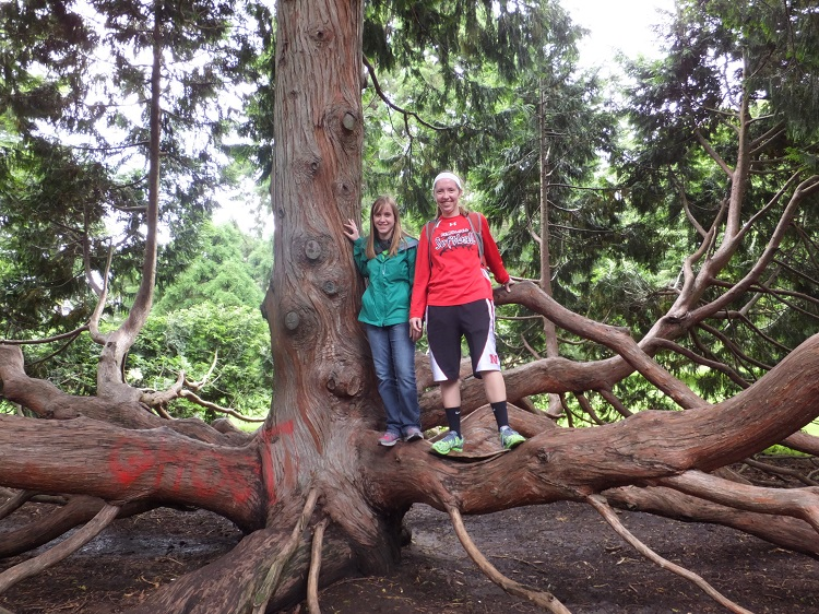 Michelle Dvoracek (left) and a friend on a large tree in the Christchurch Botanic Gardens in New Zealand. (Courtesy photo)