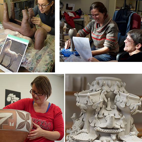 Clockwise from upper left:  Madelaine Healey re-makes a horse sculpture from the Han Dynasty China; Louise Deroualle (left) with Prof. Margaret Bohls; A Funerary Jar from Zeijang Province, China, being re-made by Emily Reason; and Shalya Marsh.