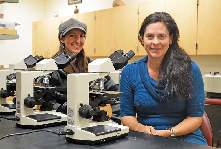 Johnica Morrow (left) and Elizabeth Racz, doctoral students, are co-authors of a paper that examines the parasitology found in archaeological sites in Nivelles, Belgium.
