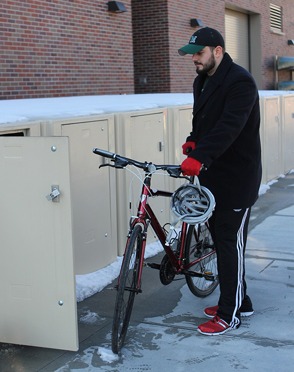 Bike lockers protect your personal gear from theft and environmental elements. The Outdoor Adventures Center has 22 units for rent.