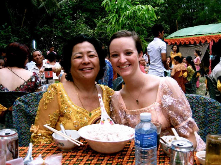Stewart Mills with her host mom in Cambodia. (Courtesy photo)