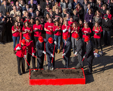 Dean Donde Plowman (second from left) is joined by university dignitaries as the College of Business Administration broke ground on a new building on March 4, 2015.
