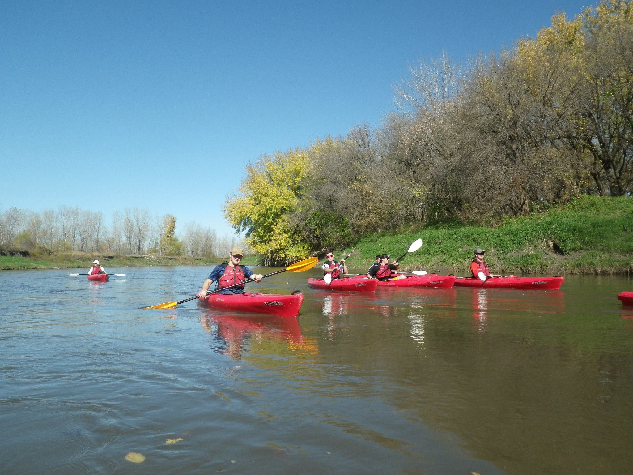 UNL students kayaking the Nishnabotna River in Iowa. Proceeds from the gear sale is used to purchase new & updated gear to beneift UNL students.