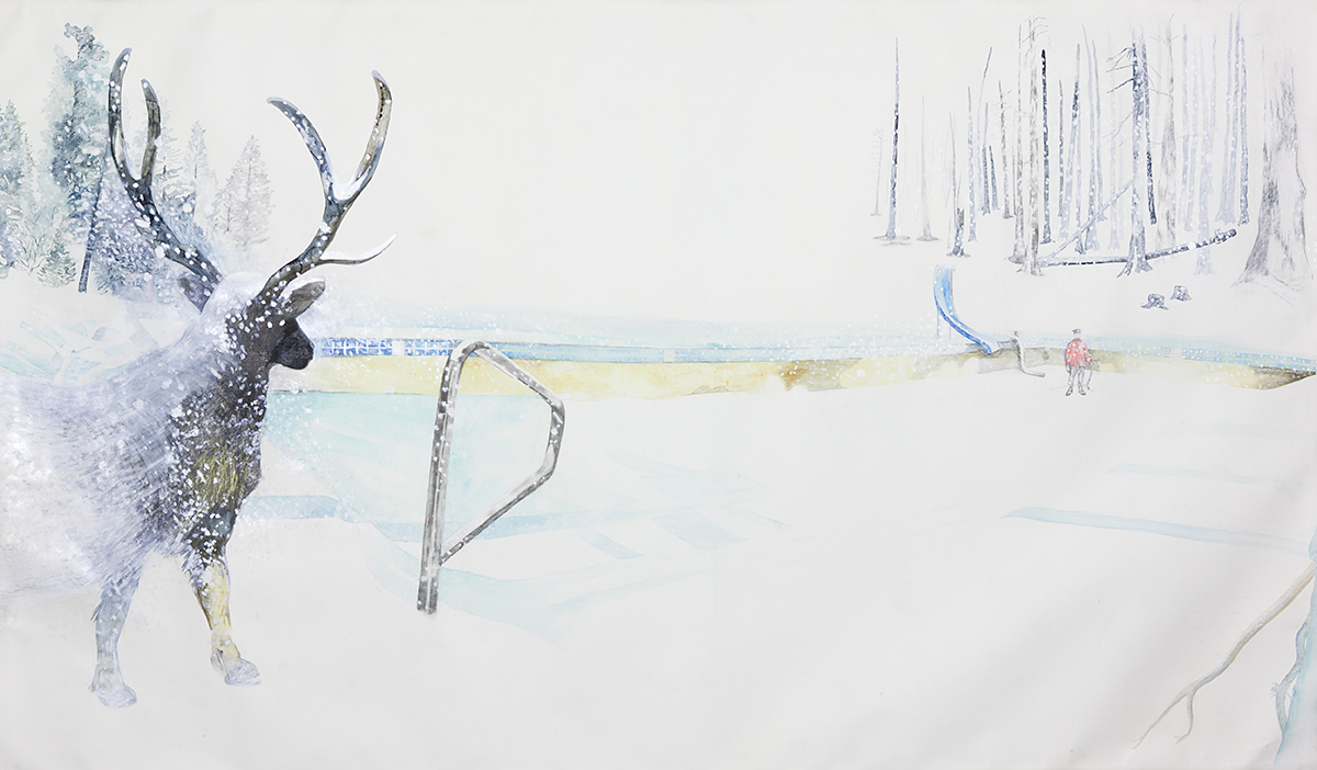 "Kim Russo, ""A Long Standoff (and an empty pool),"" detail, 2008-12. Watercolor and mixed media paper, 71 34x121 34."