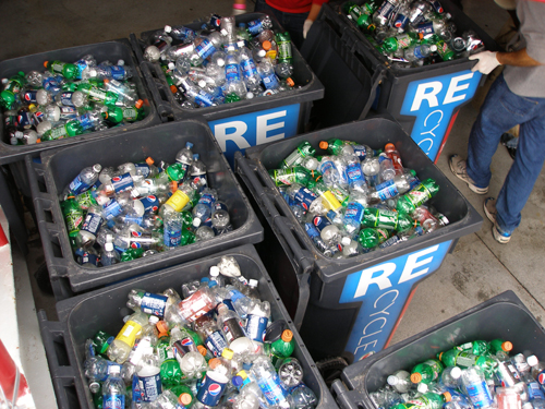 Recyclables gathered during 2009 Recyclemania event at Memorial Stadium