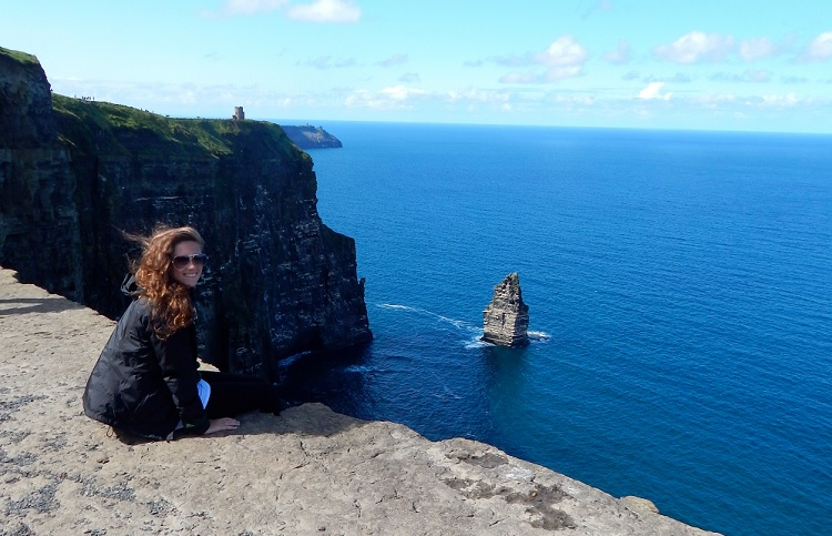 Marisa Braddock at the Cliffs of Moher in Ireland during a study abroad trip. (Courtesy photo)