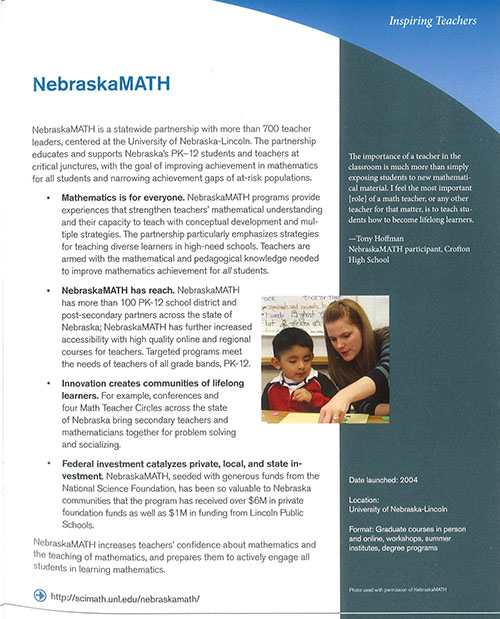 Writeup on NebraskaMATH in National Math Festival book