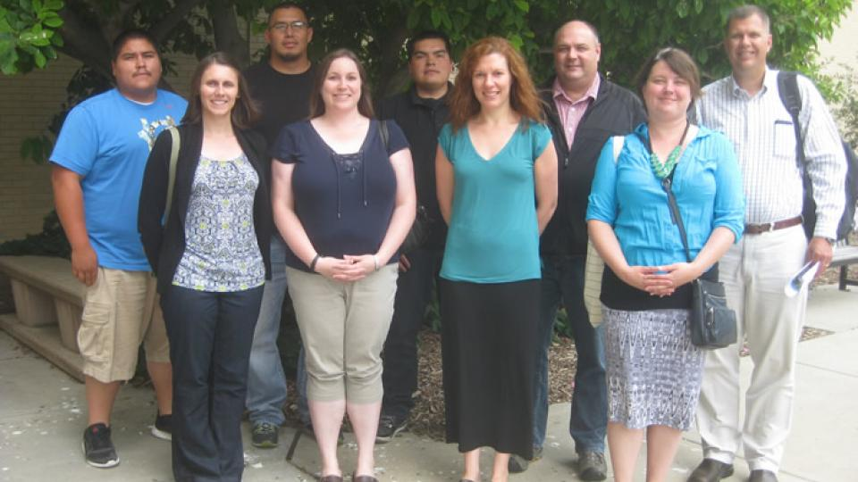 Assembled for hands-on training on producing the Wind River Climate and Drought Summary were, from left, Rollin Ware, Natalie Umphlett, Al C'Bearing, Crystal Stiles, Kenneth Ferris, Martha Shulski, Mark Svoboda, Nicole Wall and Brian Fuchs.