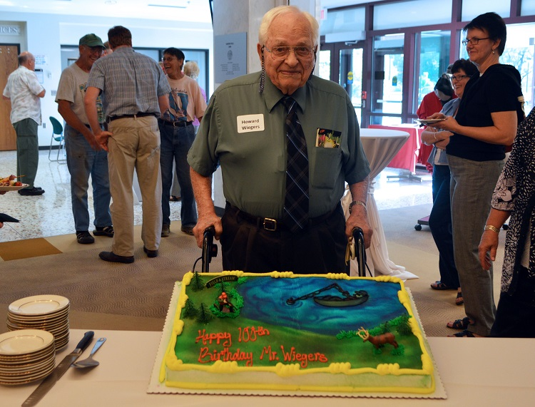 Howard Wiegers at his 100th birthday celebration, which took place July 21 at Hardin Hall on UNL's East Campus. (Mekita Rivas | Natural Resources)