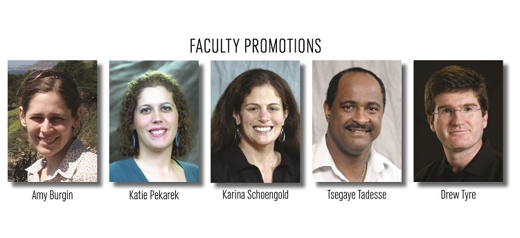 Amy Burgin, Katie Pekarek, Karina Schoengold, Tsegaye Tadesse and Drew Tyre have received promotions.