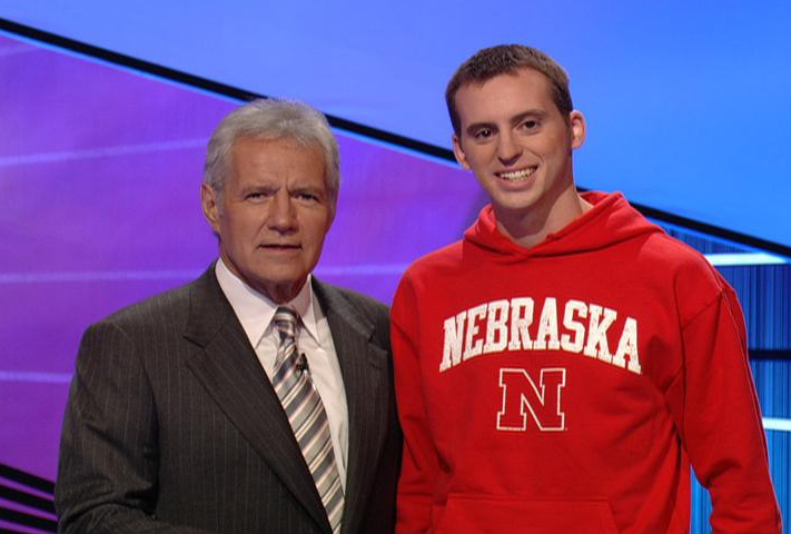 Jeopardy! host Alex Trebek and UNL's Timothy Relihan.
