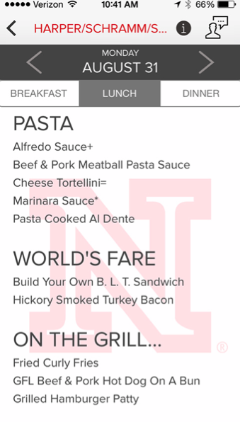 University Dining Services' new app provides information about what is on the menu at UNL dining centers. The free app includes 28 days worth of menu listings.